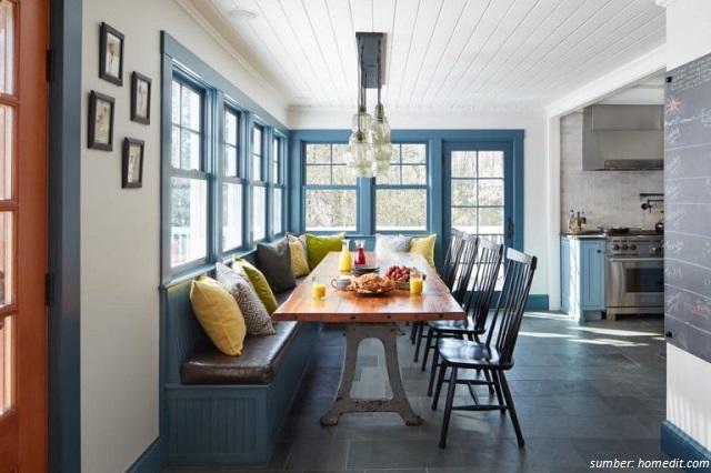 5 Desain Meja Makan dengan Kursi Bench. Hangat untuk Keluarga!