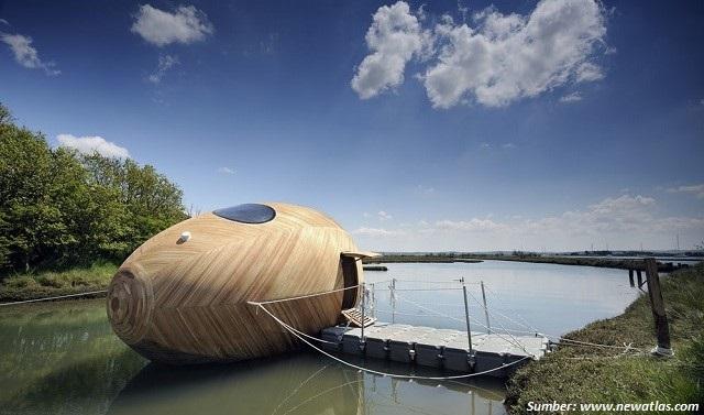 Wow! Rumah Unik Ini Berbentuk Telur dan Bisa Mengambang di Air